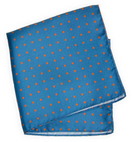 Blue Polka Dot Printed Silk Pocket Square