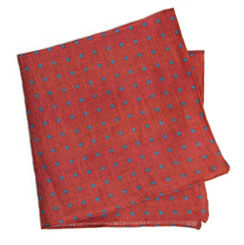 Coral and Blue Polka Dot Printed Linen Pocket Square