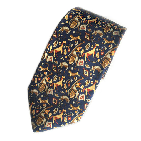 Vintage Salvatore Ferragamo Silk Necktie Animals