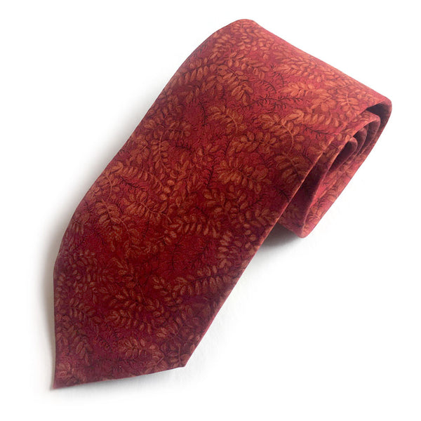 Vintage Salvatore Ferragamo Silk Necktie Orange Leaves on Red