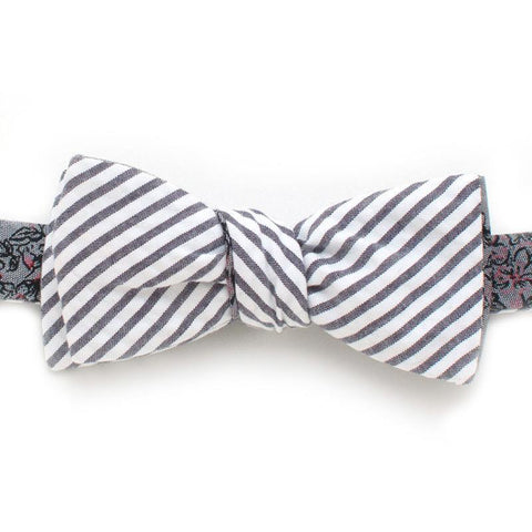 Bow Tie - Carbon Bouquet & Seersucker Stripe Reversible Bow Tie