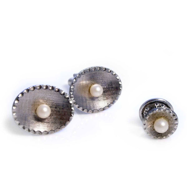 Cufflinks - Cultured Pearls Cufflinks Tie Clip Set
