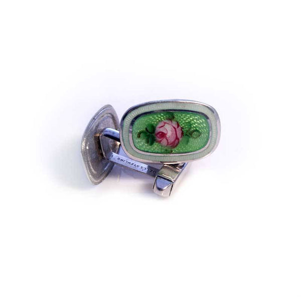 Cufflinks - Vintage Sterling Enamel Rose Cufflinks
