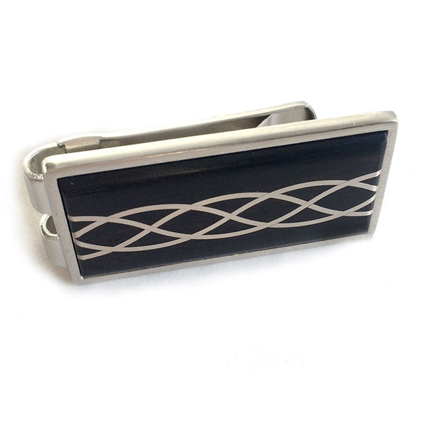 Ebony Wood Money Clip with Argentium Silver Inlay Wallet