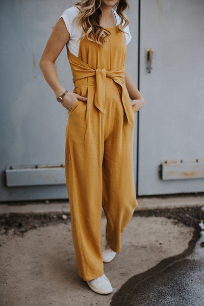 Paisley Knotted Jumpsuit in Mustard