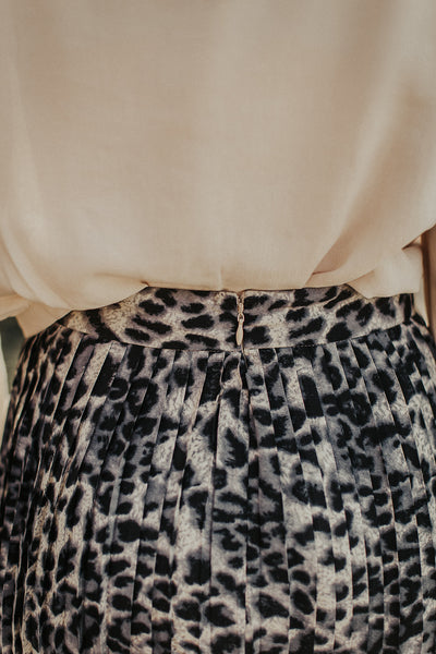 Lennon Cheetah Skirt in Grey