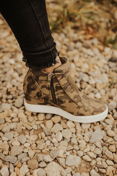 Zoey Wedge Sneaker in Camo
