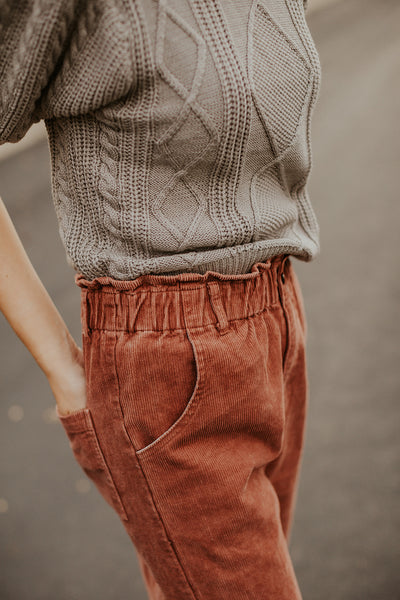 Carter Corduroy Pants in Dusty Rose