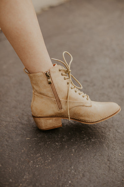 Denver Lace Up Bootie in Camel