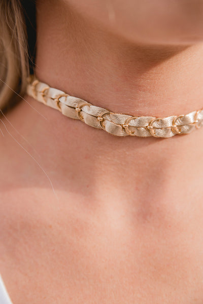 gold leather braided choker
