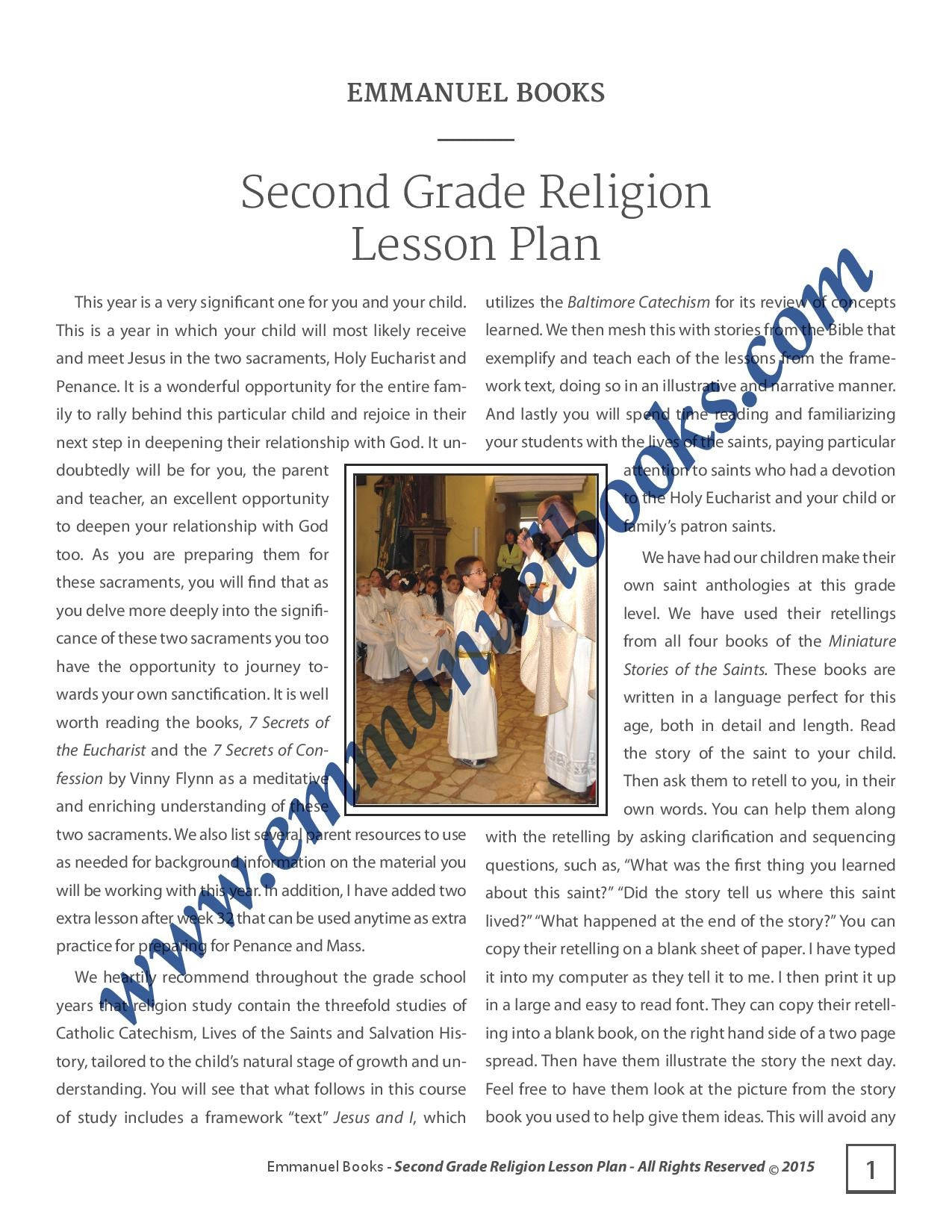 Emmanuel Books Second Grade Religion Lesson Plan