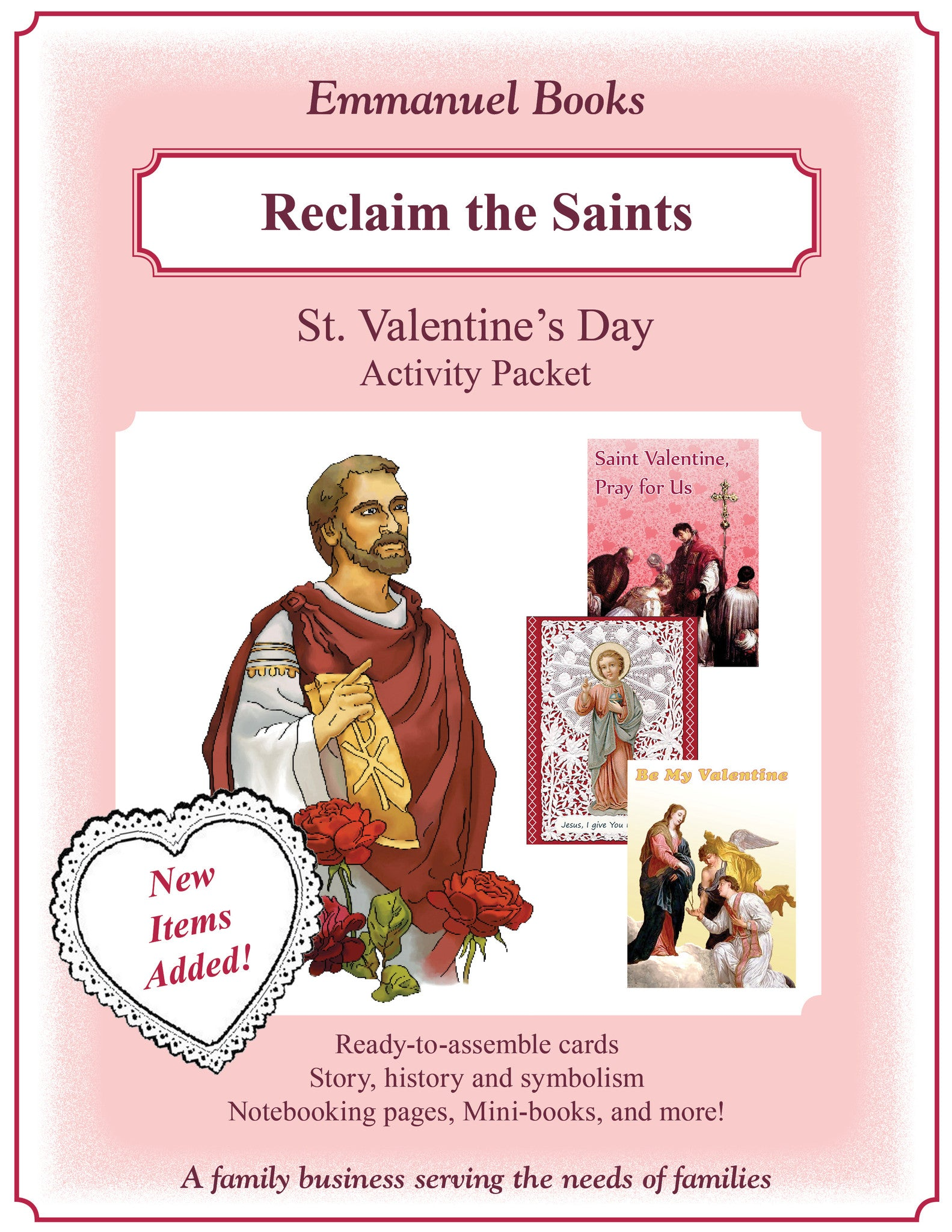 2016 - NEW EXPANDED - St. Valentine Activity Packet Download - Emmanuel Books