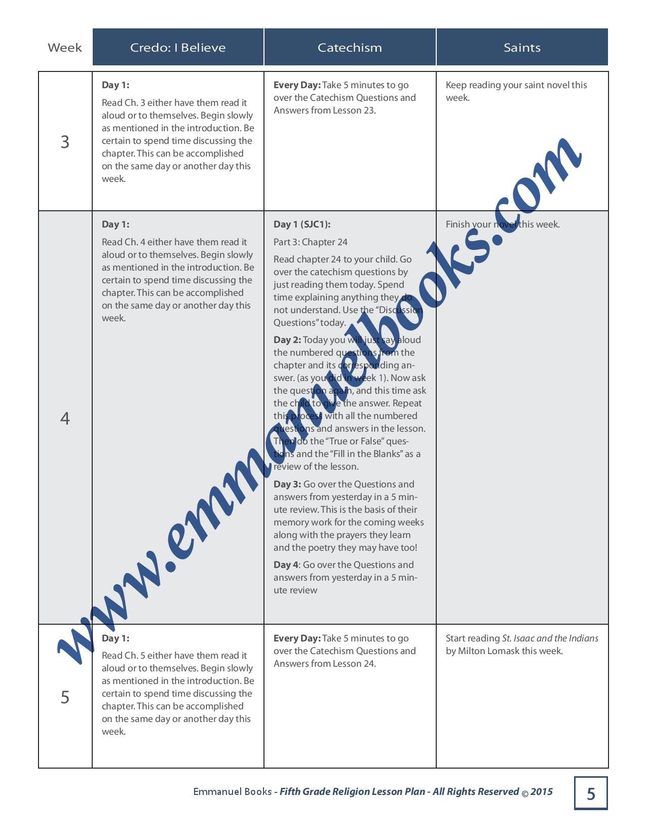 Emmanuel Books Fifth Grade Religion Lesson Plan