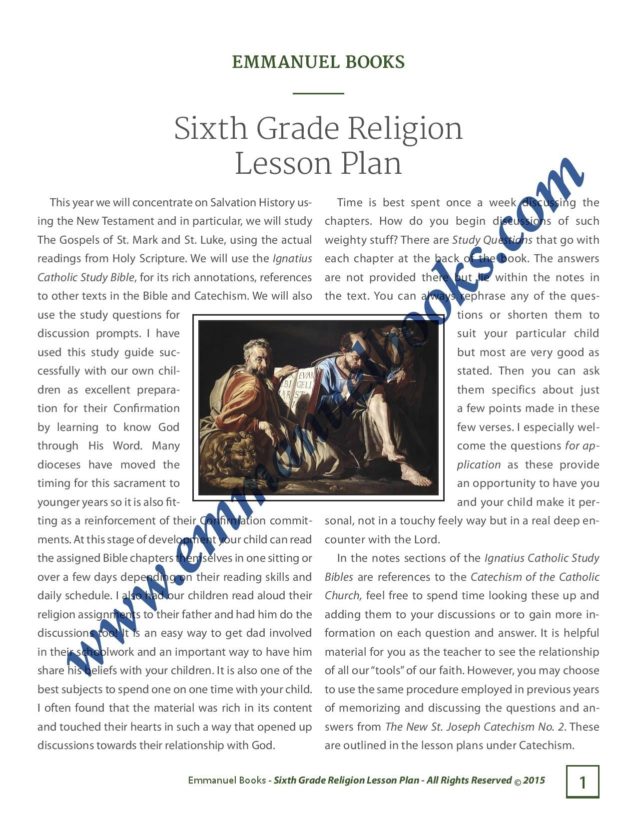 Emmanuel Books Sixth Grade Religion Lesson Plan