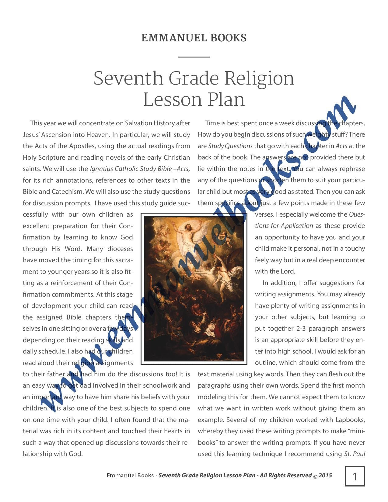 Emmanuel Books Seventh Grade Religion Lesson Plan