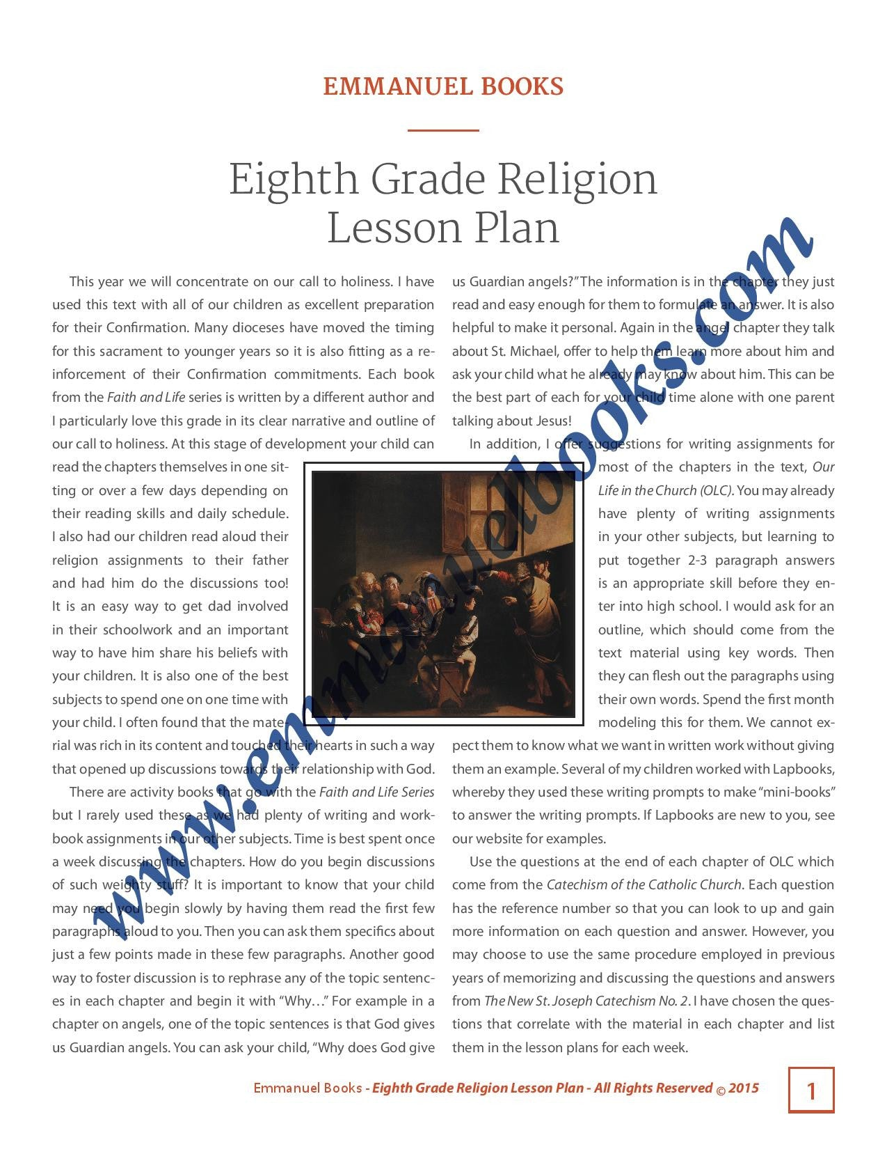 Emmanuel Books Eighth Grade Religion Lesson Plan