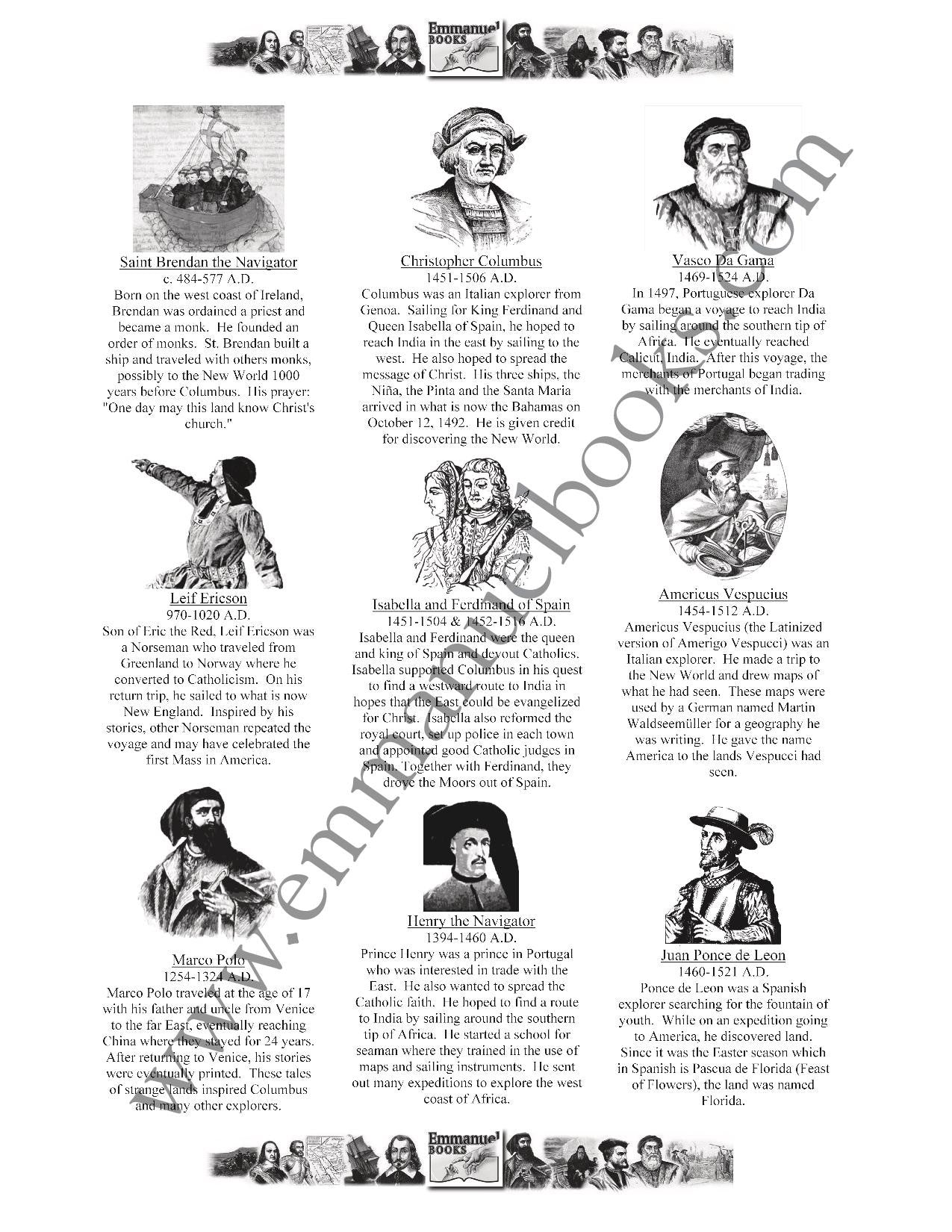 History Worth Remembering Timeline Figures VOL. 1: Early Exploration to American Revolution eBook
