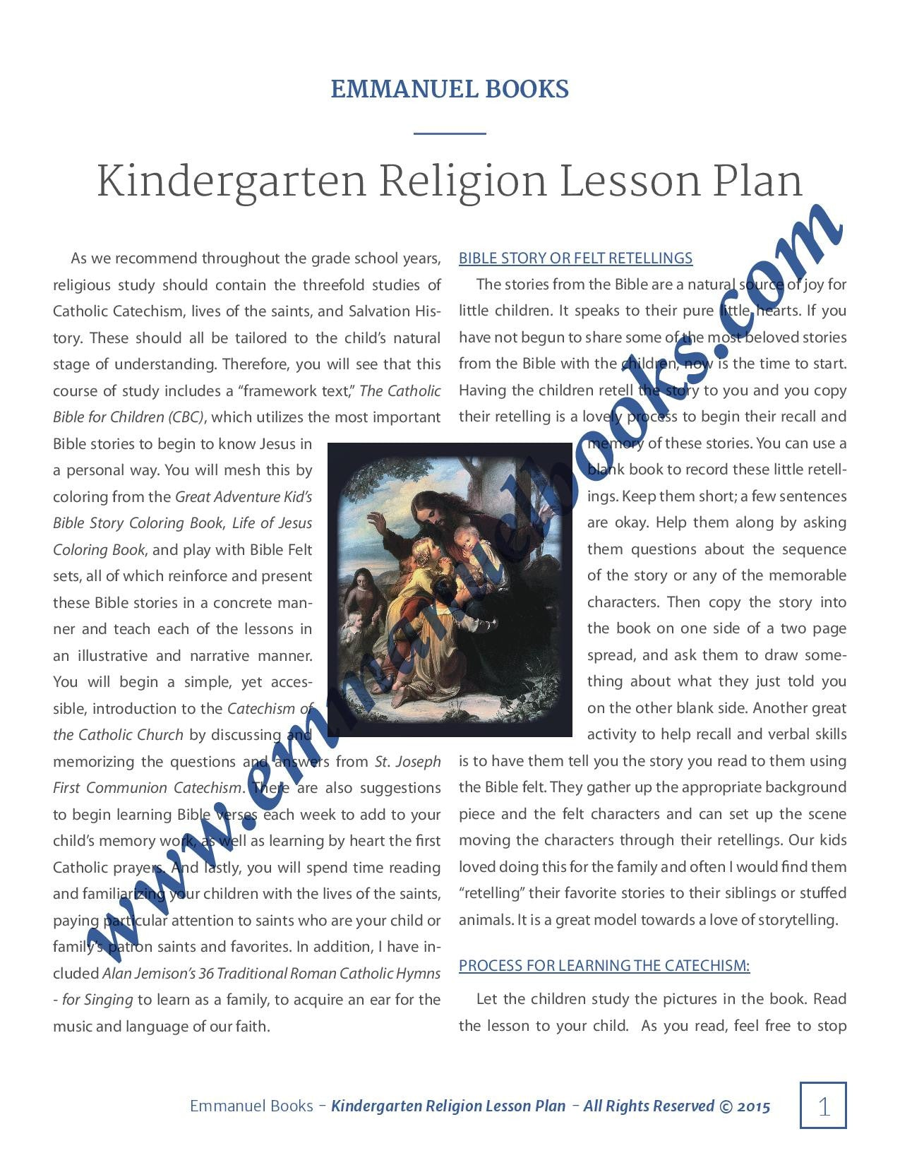 Emmanuel Books Kindergarten Religion Lesson Plan
