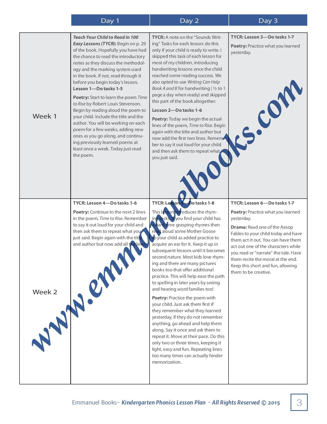 Emmanuel Books Kindergarten Lesson Plan - All Subjects