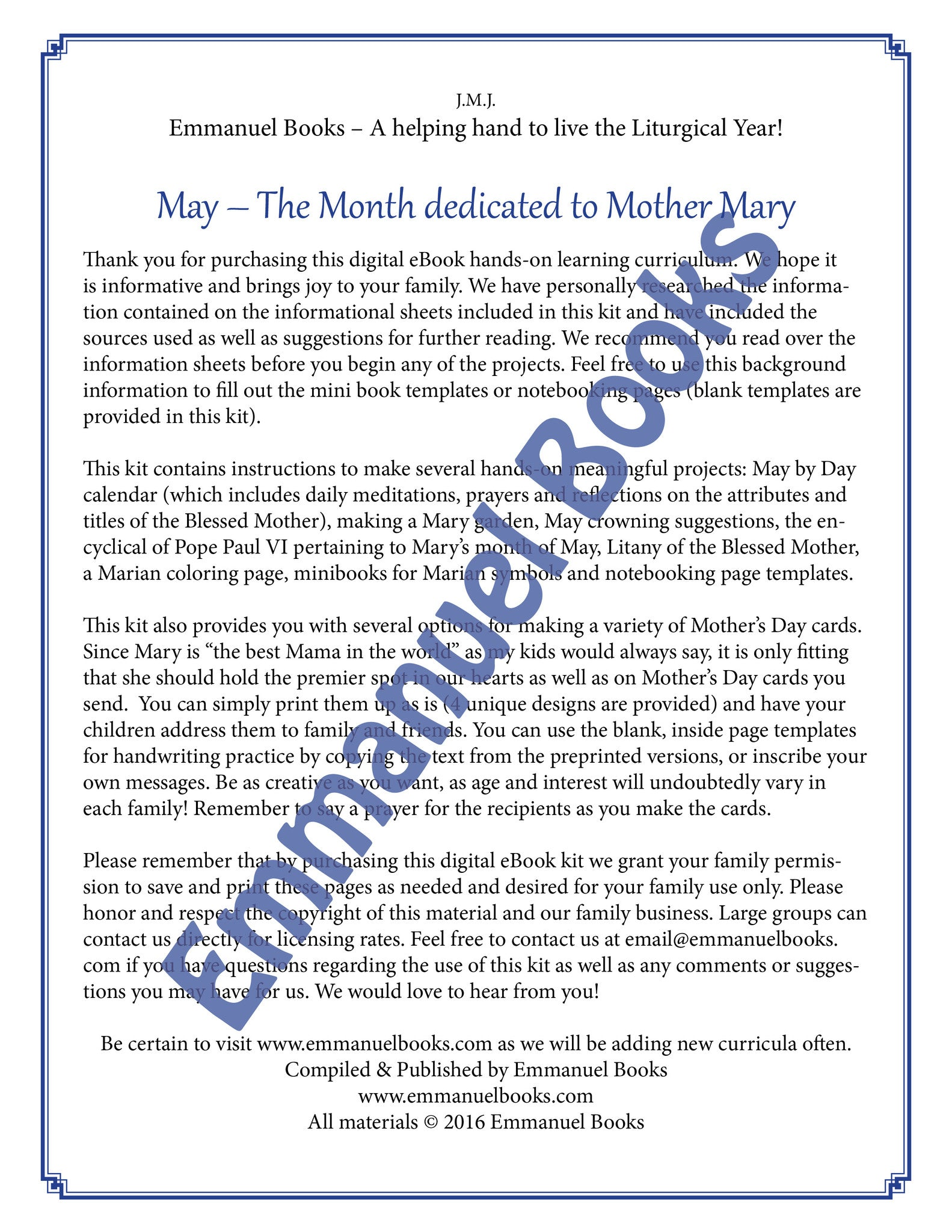 Mary and the Month of May Activity Packet Download