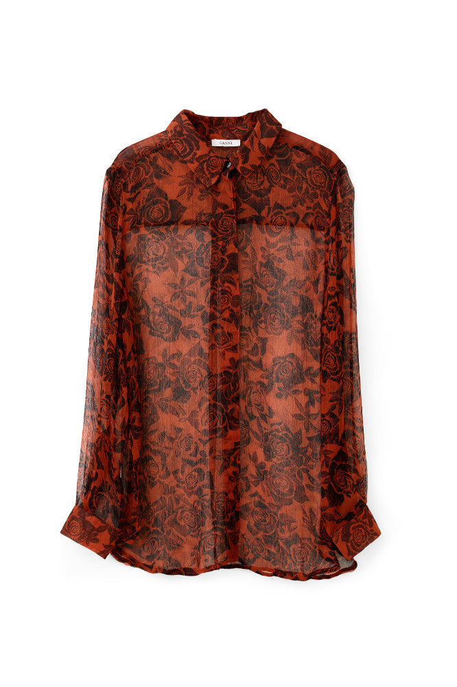 Beaumont Chiffon Shirt Brandy Brown
