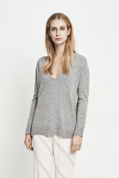 Boston Cashmere V-Neck Sweater Grey Melange