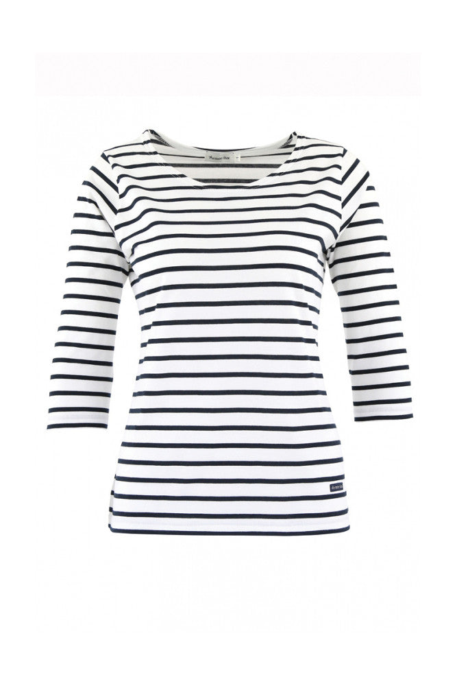 Striped Cropped Sleeve Breton T-shirt White/Deep navy