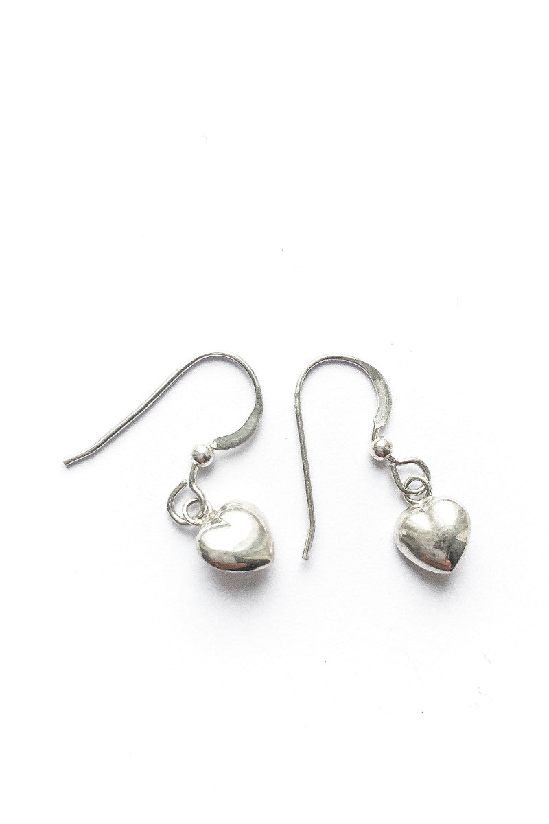 Tiny heart earrings silver