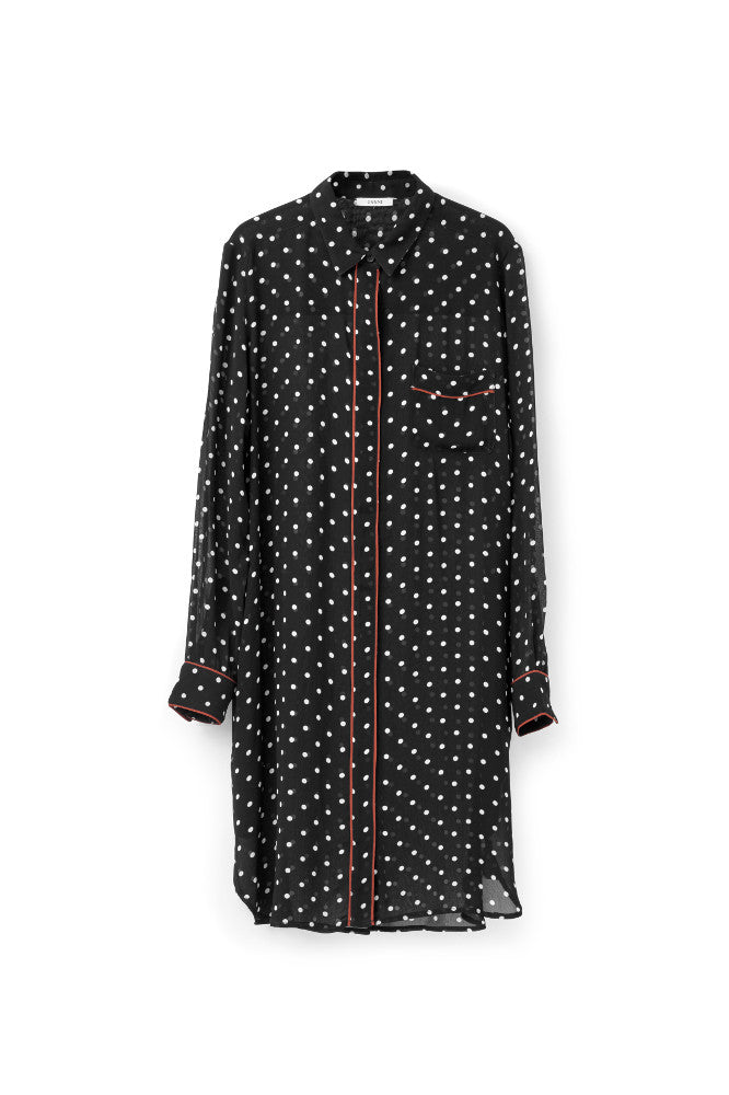 Monette Georgette Shirt Dress Black