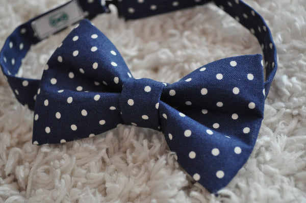 Navy Polka Dot Bow Tie - Dapper Guy Bow Ties - 1