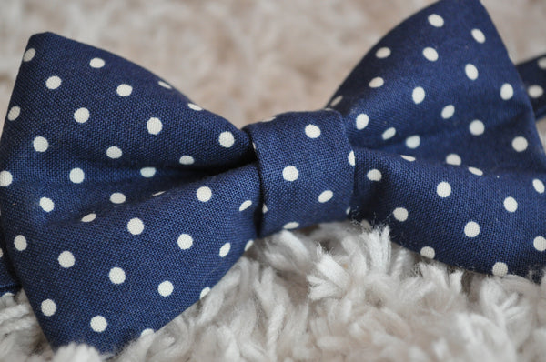 Navy Polka Dot Bow Tie - Dapper Guy Bow Ties - 2