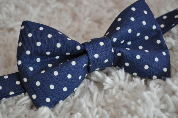 Navy Polka Dot Bow Tie - Dapper Guy Bow Ties - 3
