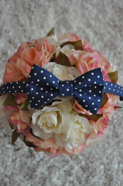 Navy Polka Dot Bow Tie - Dapper Guy Bow Ties - 4
