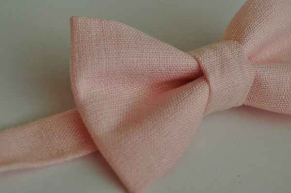 Light Pink Linen Bow Tie - Dapper Guy Bow Ties - 2