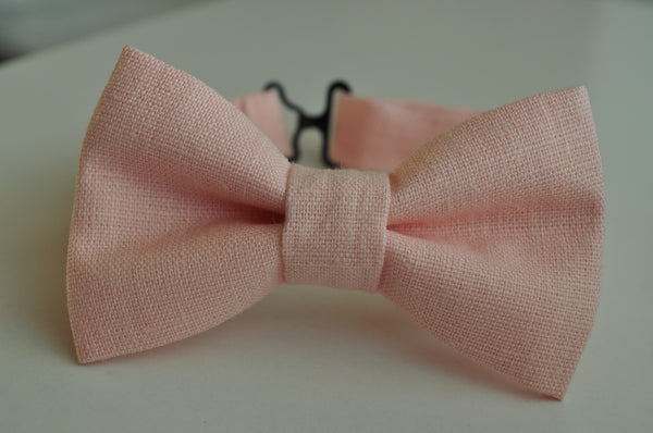 Light Pink Linen Bow Tie - Dapper Guy Bow Ties - 1
