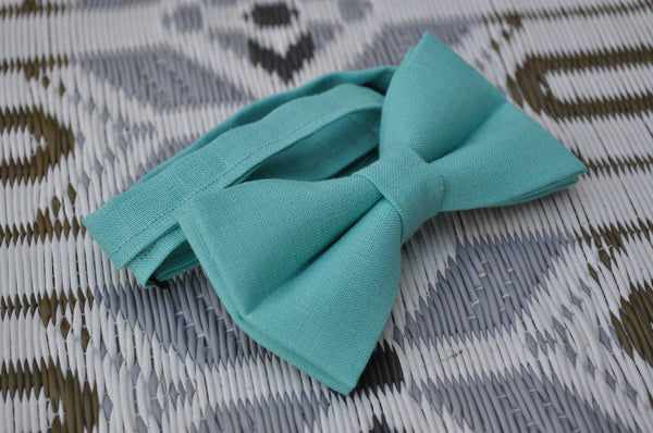 Adult Clear Ocean Green Bow Tie - Dapper Guy Bow Ties - 2