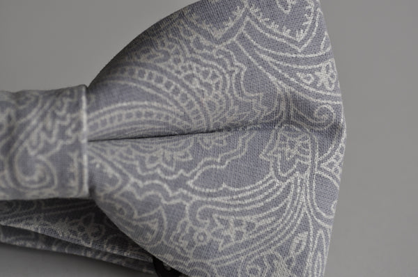 Adult Gray and Silver Paisley Bow Tie Pretied - Dapper Guy Bow Ties - 3