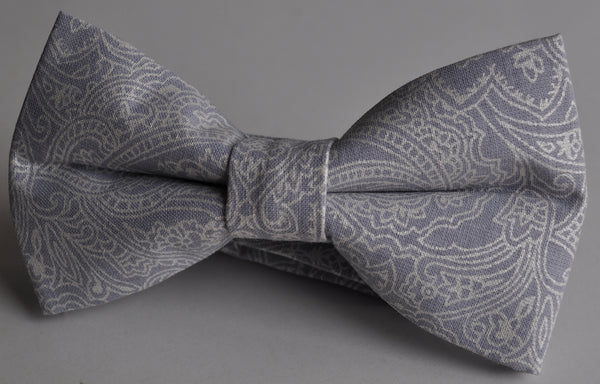Adult Gray and Silver Paisley Bow Tie Pretied - Dapper Guy Bow Ties - 2