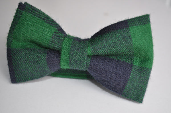 Adult Green & Blue Plaid Bow Tie - Dapper Guy Bow Ties - 1