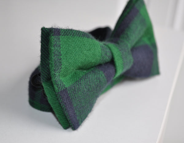 Adult Green & Blue Plaid Bow Tie - Dapper Guy Bow Ties - 2