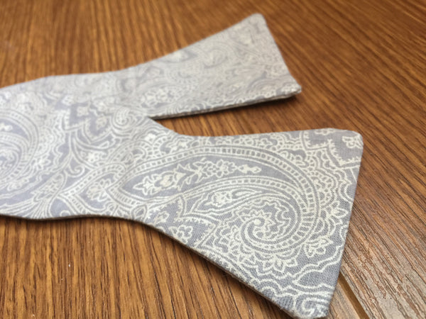 Adult Gray and Silver Paisley Bow Tie - Dapper Guy Bow Ties - 1