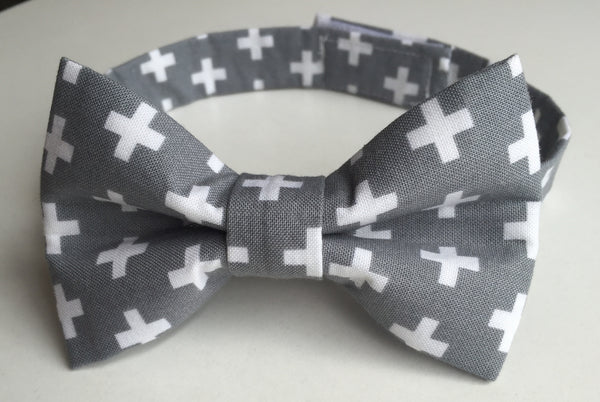Gray with White Crosses - Dapper Guy Bow Ties - 1