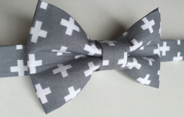 Gray with White Crosses - Dapper Guy Bow Ties - 2