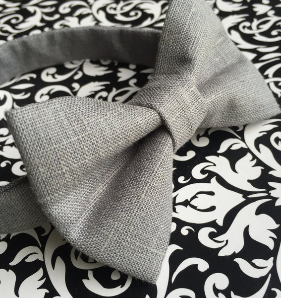 Slate Linen Bow Tie - Dapper Guy Bow Ties