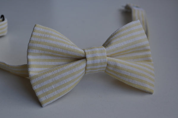 Yellow & White Striped Seersucker Bow Tie - Dapper Guy Bow Ties - 1