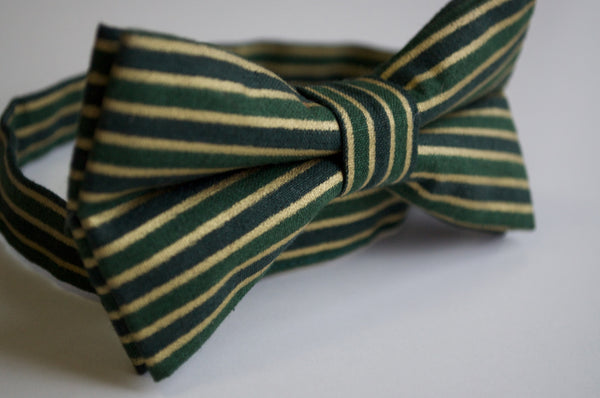 Adult Green and Gold Striped Bow Tie - Dapper Guy Bow Ties - 2