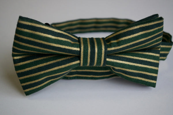 Adult Green and Gold Striped Bow Tie - Dapper Guy Bow Ties - 1