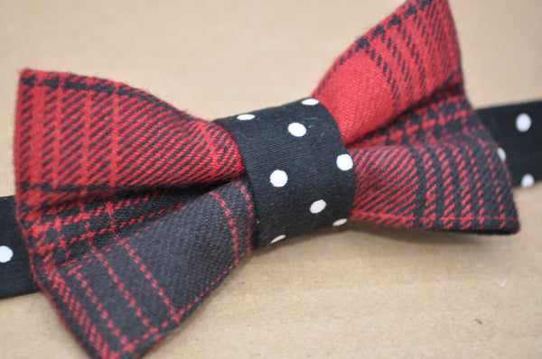 Buffalo Plaid Polka Dot Pre Tied Bow Tie - Dapper Guy Bow Ties - 3