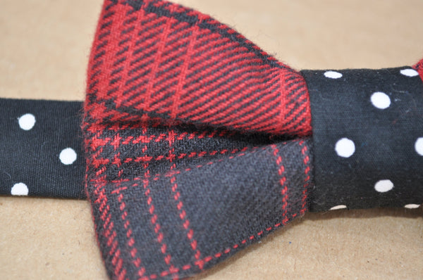 Buffalo Plaid Polka Dot Pre Tied Bow Tie - Dapper Guy Bow Ties - 2