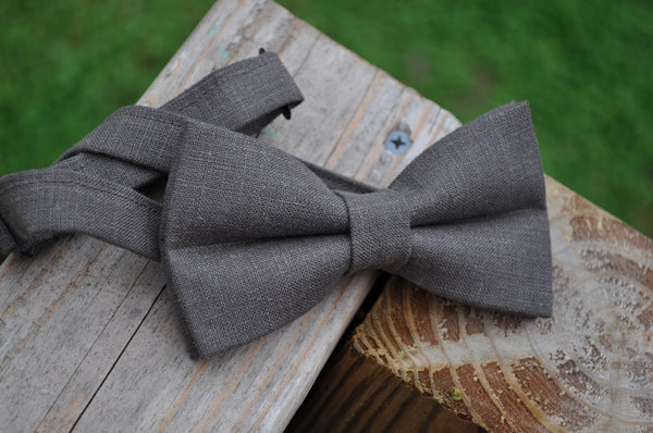 Mocha Pretied Linen Bow Tie - Dapper Guy Bow Ties - 1